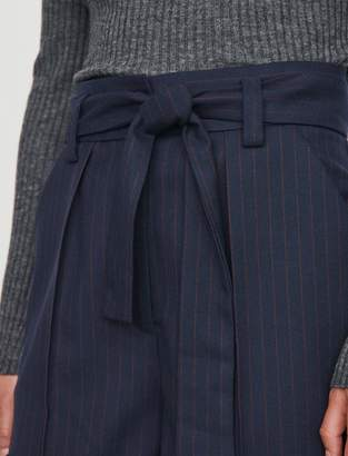 Maje Belted shorts with pinstripes