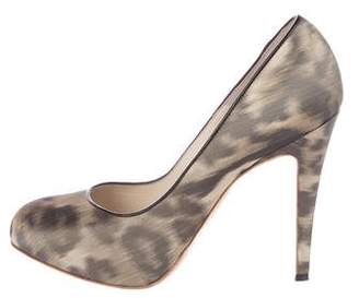 Brian Atwood Leopard Print Round-Toe Pumps