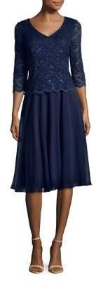 Alex Evenings Embellished Lace A-Line Dress