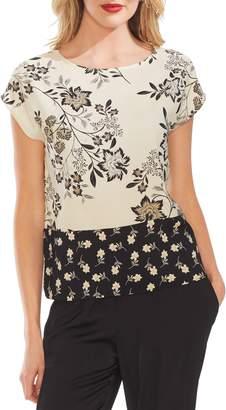 Vince Camuto Floral Block Print Cap Sleeve Top