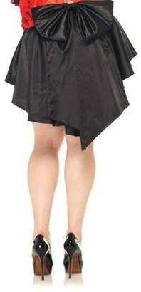 Leg Avenue Women's Plus Size Satin Burlesque Skirt With Train And Oversized Back Bow, Black, Plus Size