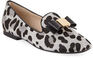 Cole Haan Tali Grand Bow Ocelot-Print Loafers