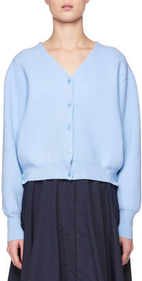 The Row Nesta V-Neck Button-Front Merino Wool Cashmere Cardigan