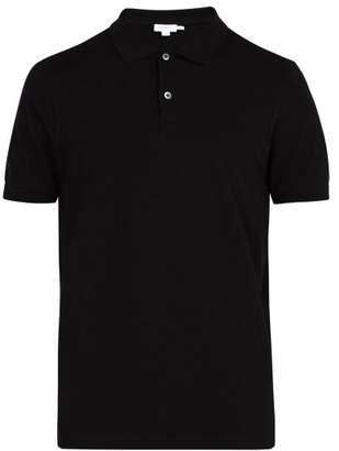 Sunspel Short Sleeved Cotton Pique Polo Shirt - Mens - Black
