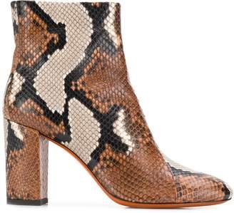 Santoni snakeskin effect ankle boots