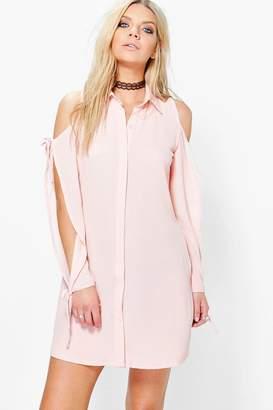 boohoo Carminio Cold Shoulder Lace Up Shirt Dress