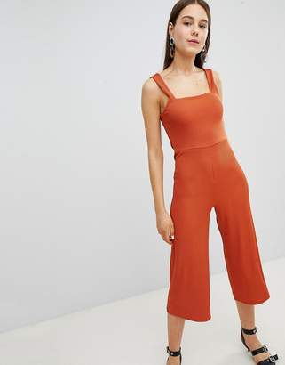 New Look Square Neck Rib Culotte Jumpsuit