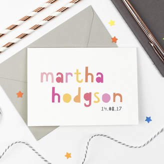 Studio 9 Ltd Personalised New Baby Girl Card