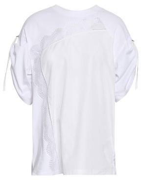8bbfe2f8c2f 3.1 Phillip Lim Crochet-trimmed Cotton-jersey And Poplin Top