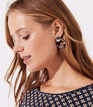 LOFT Tortoiseshell Print Ring Earrings