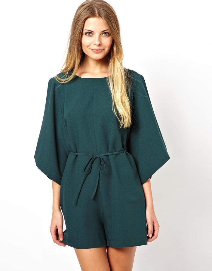 Asos Shift Playsuit With Kimono Sleeve - Green