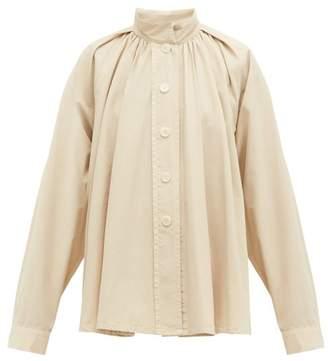 Lemaire High Neck Cotton Poplin Shirt - Womens - Cream