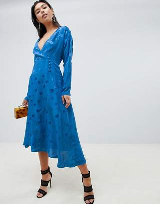 Asos Design DESIGN wrap maxi dress with long sleeve in jacquard