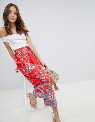 Miss Selfridge printed crop wide leg PANTS