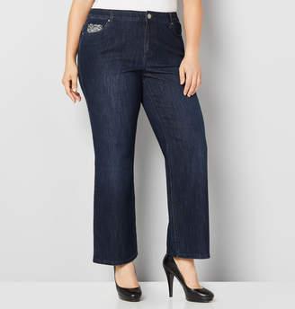 Avenue Foil Back Pocket Bootcut Jean