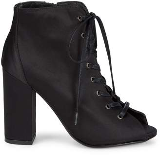 RENVY Lace-Up Satin Booties