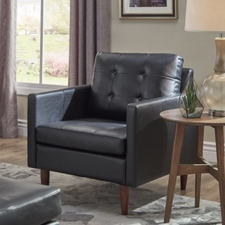 Weston Home Gilly Button Tufted Black Leather Gel Removable Cushion Chair