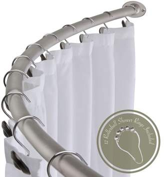 "HowPlumb Adjustable 60"" - 72"" Opening Curved Shower Rod and Roller Ball Rings Hooks, Satin Nickel"
