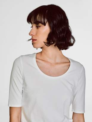White + Warren Cotton Modal Elbow Sleeve Scoopneck Tee