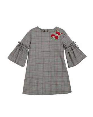 Mayoral Prince of Wales Plaid Bell-Sleeve Dress, Size 8-16