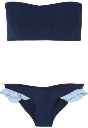 b7aaf1e6838 Hunza G Twosret Ruffle-trimmed Ribbed Seersucker Bandeau Bikini - Navy