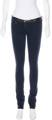 Etoile Isabel Marant Low-Rise Leather-Trimmed Jeans