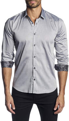 Jared Lang Men's Semi-Fitted Solid Long-Sleeve Button-Down Shirt with Contrast Cuffs
