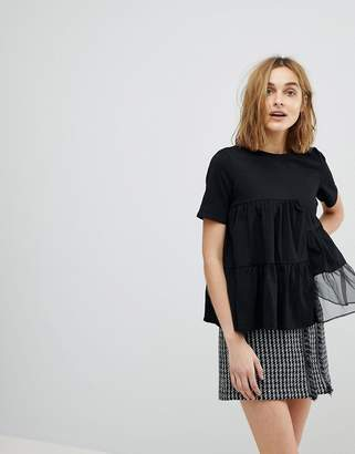 Lost Ink Relaxed T-Shirt With Woven Chiffon Panels