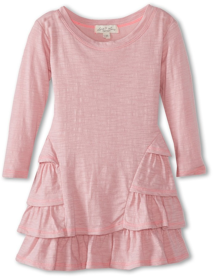 Luna Luna Copenhagen Softest Slub Jersey Layered Lotus Dress (Toddler/Little Kids/Big Kids) (Rose) - Apparel