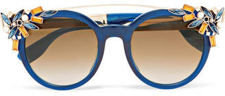 Jimmy Choo Embellished Cat-eye Acetate Sunglasses - Blue