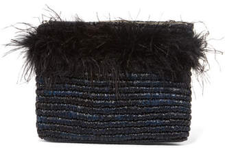 Loeffler Randall Feather-embellished Raffia Clutch - Midnight blue