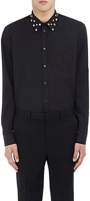 Givenchy GIVENCHY MEN'S STUDDED-COLLAR POPLIN SHIRT $990 thestylecure.com