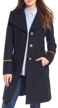 Women's Sam Edelman Wool Blend A-Line Military Coat
