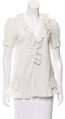 Marc by Marc Jacobs Ruffle-Trimmed Floral Top