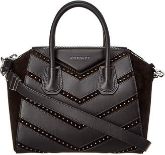 Givenchy Antigona Small Studded Chevron Leather & Suede Satchel
