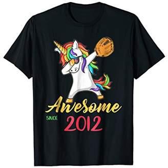 Softball Dabbing Unicorn Awesome Since 2012 6th T Shirt
