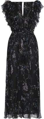Zimmermann Cropped Ruffled Floral-print Silk-georgette Wide-leg Jumpsuit