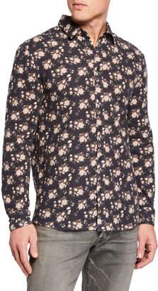 Eleven Paris Men's Long-Sleeve Floral-Print Sport Shirt