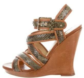 Alexandre Birman Snakeskin Multistrap Wedge Sandals