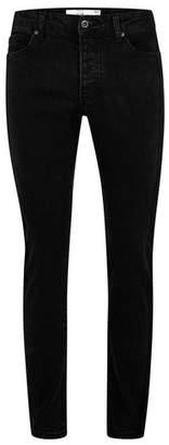 Topman Mens Black Acid Wash Stretch Slim Jeans