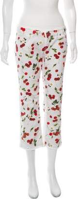 Dolce & Gabbana Mid-Rise Cherry Print Jeans
