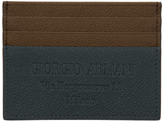 Giorgio Armani Brown and Blue Logo Stamp Card Holder