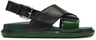 Marni Black and Green Fussbett Sandals