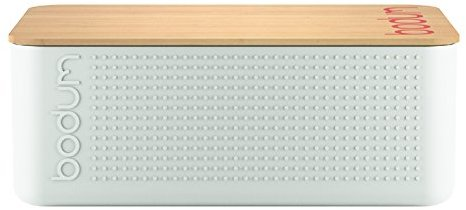 Bodum Bistro Bread Box with Bamboo Cutting Board - Off white