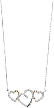 Tri Tone Sterling Silver 1/4 Carat T.W. Diamond Triple Heart Necklace