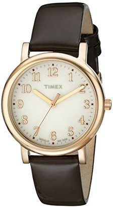Timex Women's T2P465AB Originals Rose Gold-Tone Watch with Brown Leather Band $80 thestylecure.com