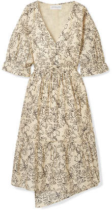 Apiece Apart Anichka Wrap-effect Floral-print Cotton And Silk-blend Voile Midi Dress - Cream