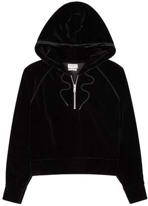 Rag & Bone Black Hooded Velvet Sweatshirt