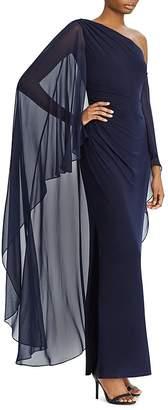 Lauren Ralph Lauren One-Shoulder Overlay Gown