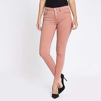 River Island Womens Pink Amelie released hem super skinny jeans